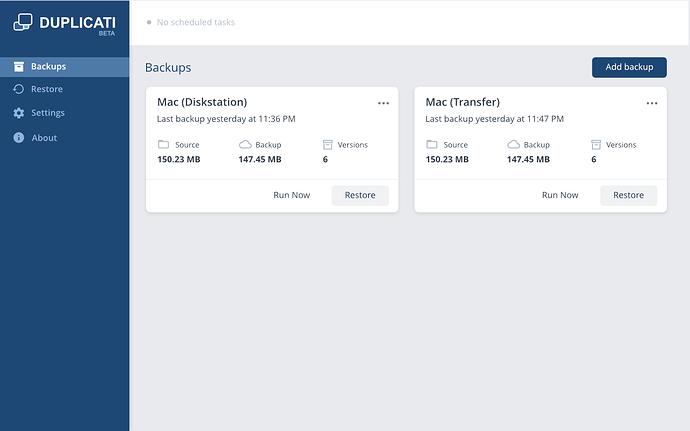 Duplicati UI 1