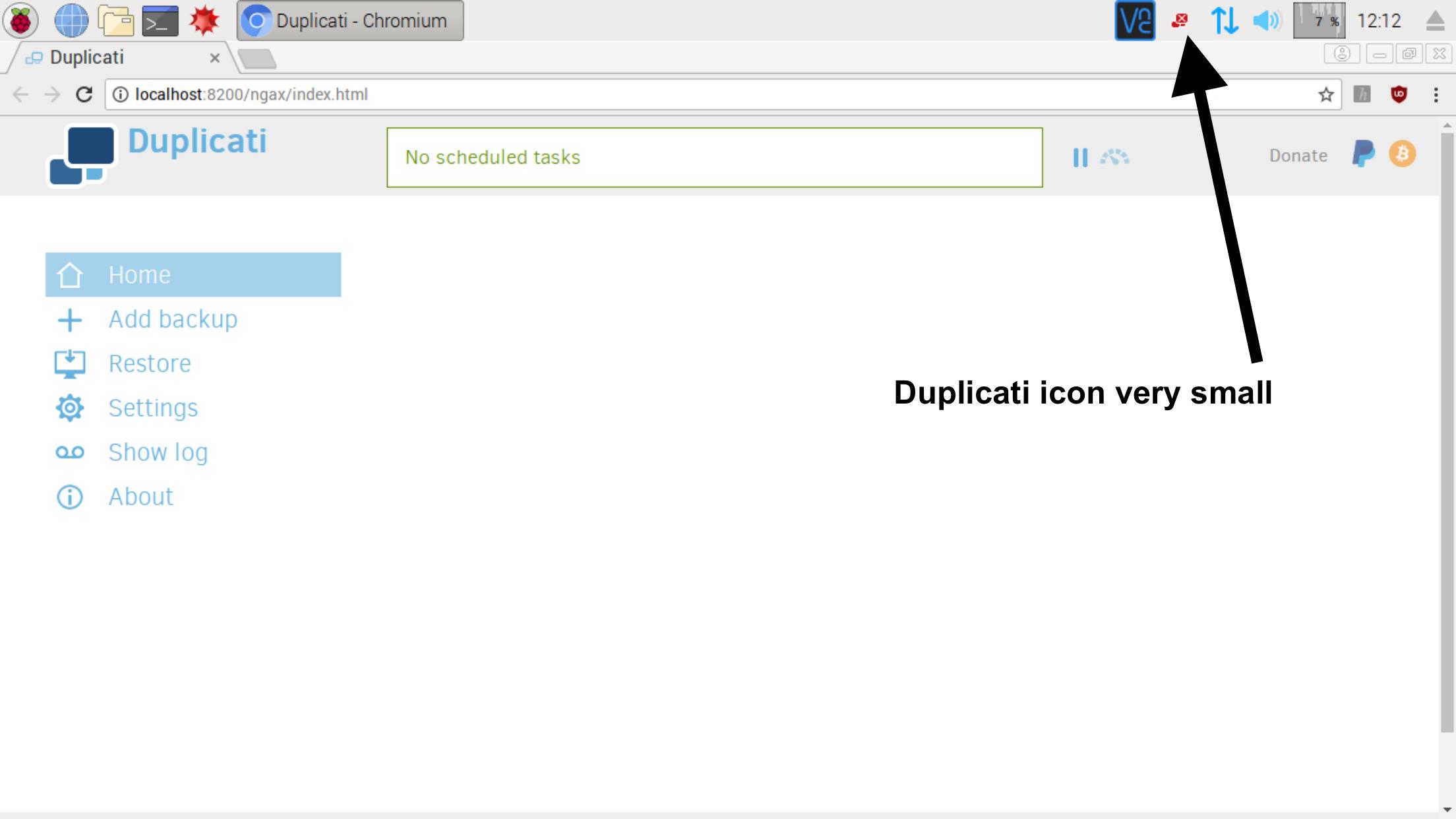 Small icon on Linux desktop - UX - Duplicati