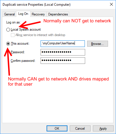 Cannot access network folder - Support - Duplicati