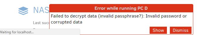 Error: Failed to decrypt data - Support - Duplicati
