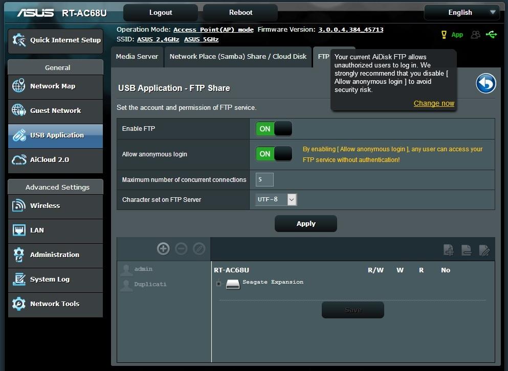 Asus RT-AC68U router(as AP/FTP server) dosent let Duplicati